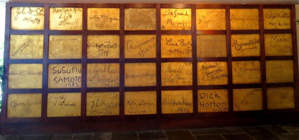 This Golden Wall in the Auditorium at The Institutes campus in Philadelphia displays the signatures of many collaborators.